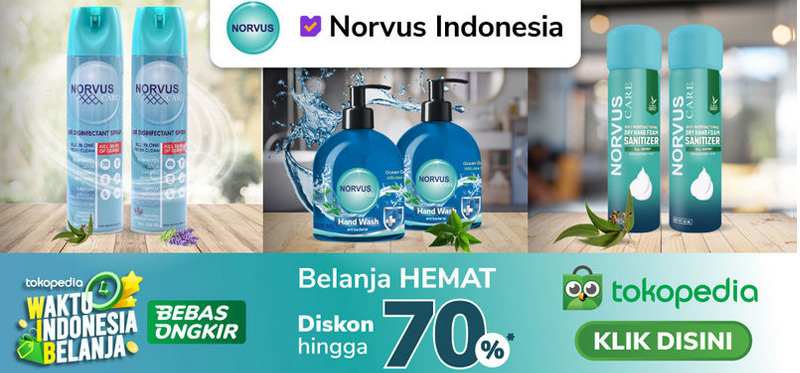Banner disebelah Kiri di Homepage  - Link ke Norvus Offical Store di Tokopedia