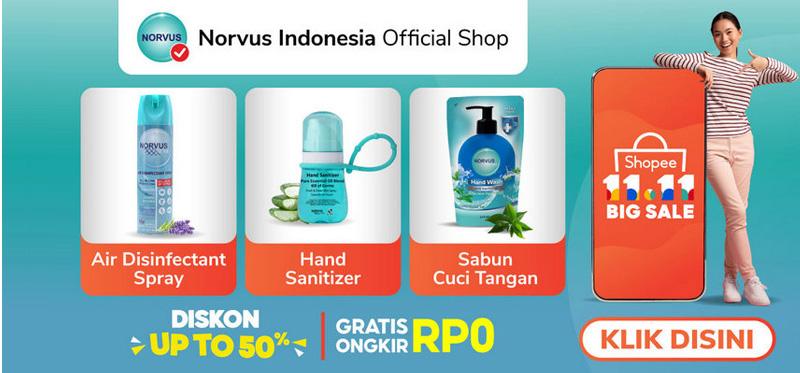 Banner di sebelah Kanan di Homepage -  Link ke  Norvus Official Store di Shopee